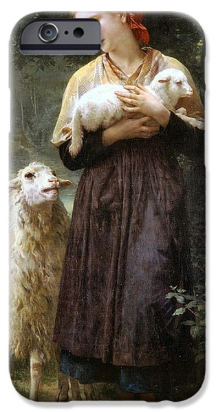 Sheep iPhone Cases - The Newborn Lamb iPhone Case by William Bouguereau