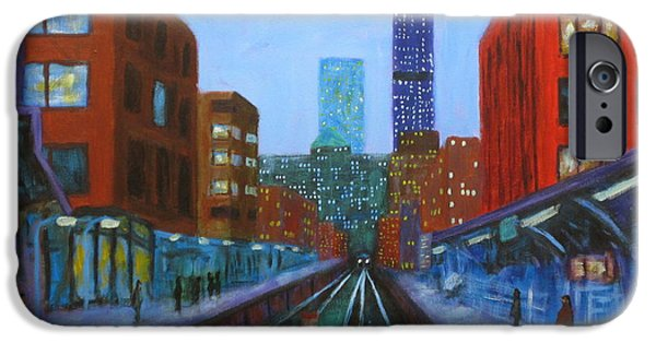 Chicago Paintings iPhone Cases - The Next Train iPhone Case by J Loren Reedy