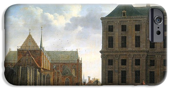 Dog In Landscape Digital iPhone Cases - The Nieuwe Kerk and the Rear of the Town Hall in Amsterdam  iPhone Case by Isaak Ouwater