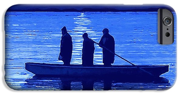 Fishing Pastels iPhone Cases - The Night Fishermen iPhone Case by SophiaArt Gallery