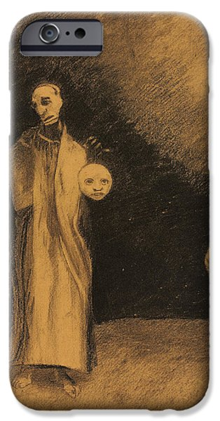 Surrealism Pastels iPhone Cases - The Nightmare iPhone Case by Odilon Redon