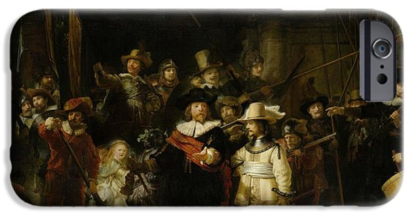 Police iPhone Cases - The Nightwatch, 1642 Oil On Canvas iPhone Case by Rembrandt Harmensz. van Rijn
