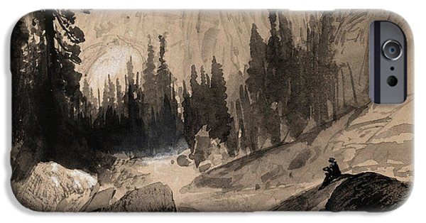 Animal Drawings iPhone Cases - The North Dome Yosemite California iPhone Case by Thomas Moran