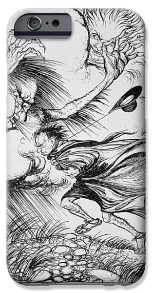 Fable iPhone Cases - The North Wind And The Sun, Illustration From Aesops Fables, Published By Heinemann, 1912 Colour iPhone Case by Arthur Rackham