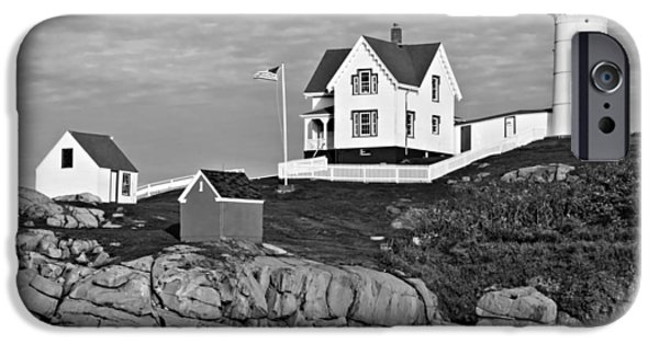 Nubble Lighthouse iPhone Cases - The Nubble - bw iPhone Case by Nikolyn McDonald