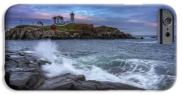 Cape Neddick Lighthouse iPhone Cases - The Nubble In Color iPhone Case by Rick Berk