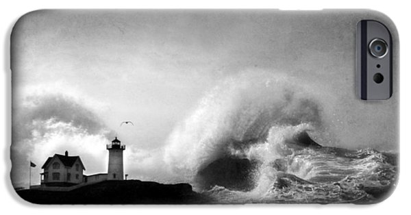 Nubble Lighthouse iPhone Cases - The Nubble in Trouble iPhone Case by Lori Deiter