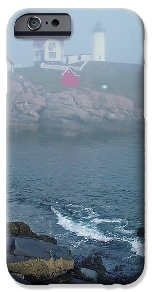 Nubble Lighthouse iPhone Cases - The Nubble Lighthouse at York Maine iPhone Case by Suzanne Gaff