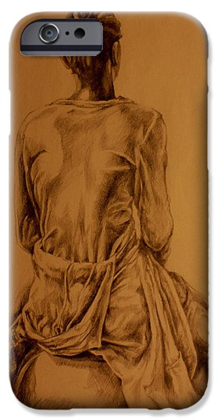 Contemplative Drawings iPhone Cases - The Observer iPhone Case by Derrick Higgins