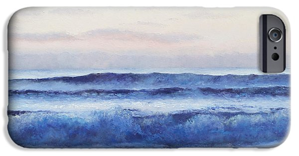 Bathroom Paintings iPhone Cases - The Ocean at Dusk iPhone Case by Jan Matson