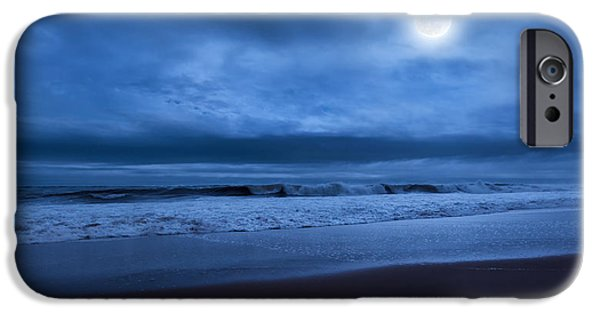 Beach At Night iPhone Cases - The Ocean Moon iPhone Case by Bill  Wakeley