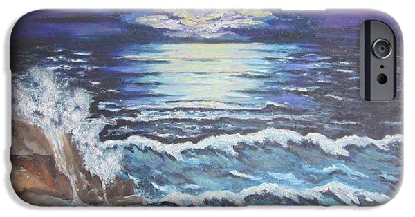Sea Moon Full Moon Paintings iPhone Cases - The Ocean Sings the Sky Listens iPhone Case by Cheryl Pettigrew