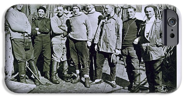 Terra Paintings iPhone Cases - The officers of the Terra Nova expedition iPhone Case by Herbert Ponting