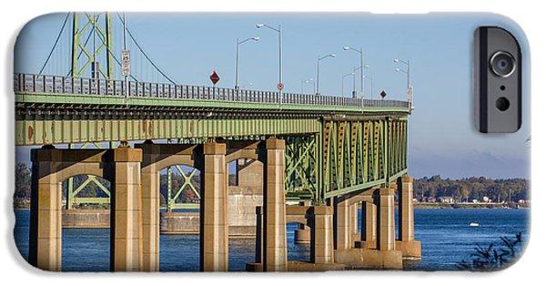 Prescott iPhone Cases - The Ogdensburg Prescott International Bridge iPhone Case by Laurel Butkins