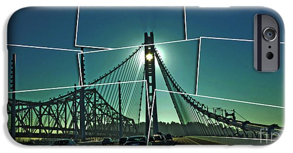 Upper Deck iPhone Cases - The Old and New spans of the Oakland Bay Bridge  iPhone Case by Jim Fitzpatrick