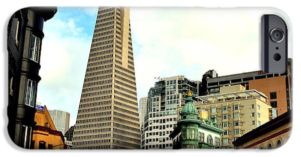 Francis Ford Coppola iPhone Cases - The Old and the New the Columbus Tower and the Transamerica Pyramid iPhone Case by Jim Fitzpatrick