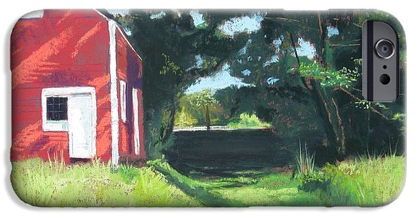 Barn Landscape Pastels iPhone Cases - The Old Barn iPhone Case by Candy Schultheis