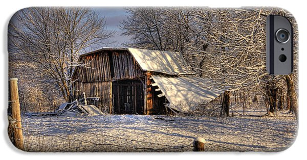 Barns Pyrography iPhone Cases - The Old Barn iPhone Case by Mark Six