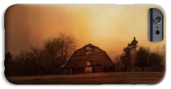 Autumn In The Country iPhone Cases - The Old Barn On A Fall Evening iPhone Case by Jai Johnson