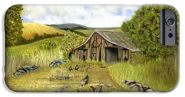Old Barns Pastels iPhone Cases - The Old Barnyard iPhone Case by Sarah Dowson