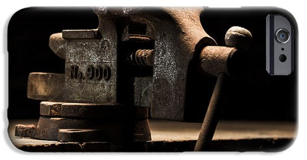Vise iPhone Cases - The Old Bench Vise iPhone Case by Andrew Pacheco