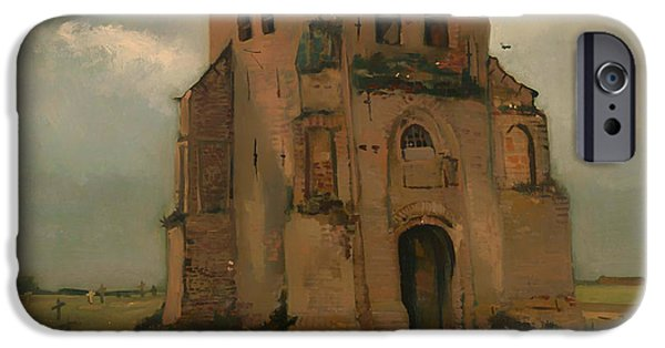 Cemetery Paintings iPhone Cases - The Old Church Tower at Neunen iPhone Case by Vincent van Gogh