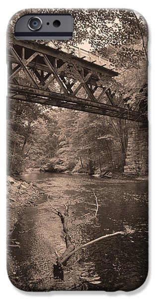 Creek Pyrography iPhone Cases - The Old Connecticut iPhone Case by Chris Hoffensetz