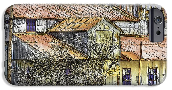 Old Barn Drawing iPhone Cases - The Old Cotton Barn iPhone Case by Barry Jones