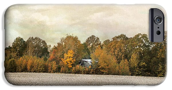 Autumn Scenes iPhone Cases - The Old Cotton Barn Country Landscape iPhone Case by Jai Johnson