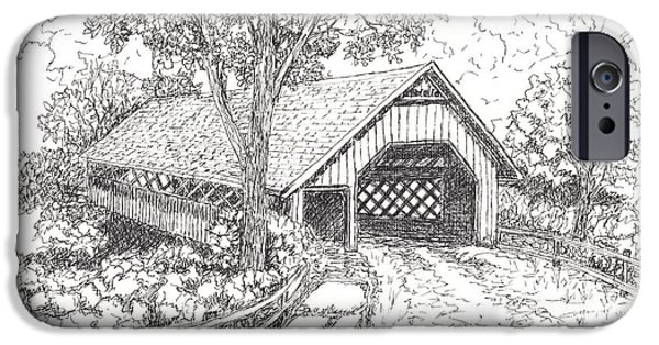 Covered Bridge Mixed Media iPhone Cases - The Old Creamery Bridge Brattleboro VT Pen Ink iPhone Case by Carol Wisniewski