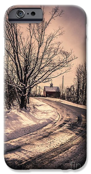 Stormy Weather iPhone Cases - The old farm down the road iPhone Case by Edward Fielding