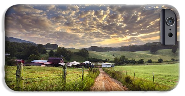 Tennessee Barn iPhone Cases - The Old Farm Lane iPhone Case by Debra and Dave Vanderlaan