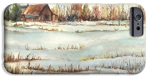 Winter Storm iPhone Cases - The Old Farmstead iPhone Case by Carol Wisniewski