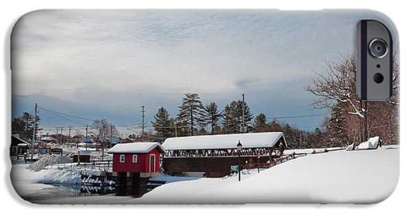 Snowy Scene iPhone Cases - The Old Forge Covered Bridge iPhone Case by David Patterson