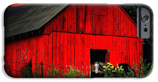 Julie Dant Artography iPhone Cases - The Old Frederick Barn iPhone Case by Julie Dant