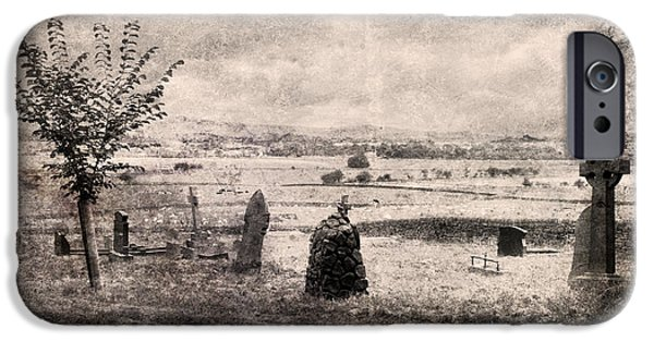 Headstones Digital Art iPhone Cases - The old graveyard iPhone Case by Gillian Singleton