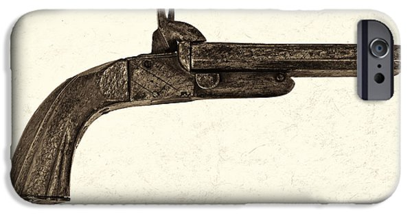 Nineteenth iPhone Cases - The Old handgun - Sepia iPhone Case by Martin Bergsma