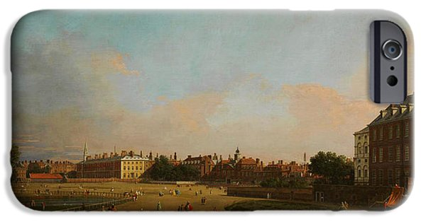 Park Scene Paintings iPhone Cases - The Old Horse Guards from St James s Park iPhone Case by Celestial Images