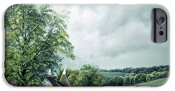 Barn Landscape Pastels iPhone Cases - The Old Lime Tree iPhone Case by Rosemary Colyer