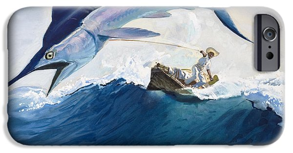 Creatures Paintings iPhone Cases - The Old Man and the Sea iPhone Case by Harry G Seabright