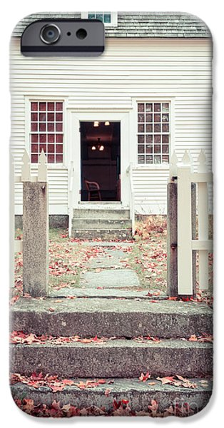 Stone Steps iPhone Cases - The Old Meeting House Canterbury Shaker Village iPhone Case by Edward Fielding