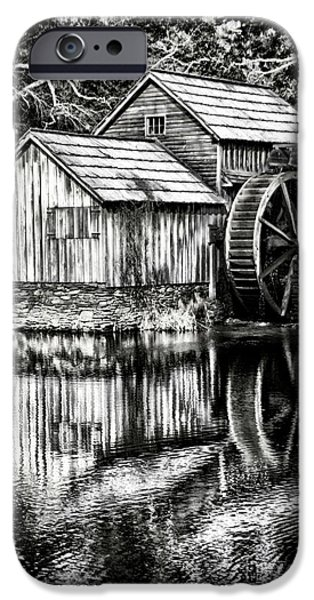 Pioneer Scene iPhone Cases - The Old Mill Black and White iPhone Case by Darren Fisher