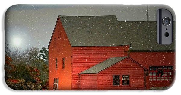 Red Barn In Winter iPhone Cases - The Old Mill Kirby Pond iPhone Case by Diana Angstadt