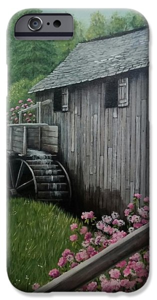 Smokey Mountains Paintings iPhone Cases - The Old Mill iPhone Case by Sherry Cooper