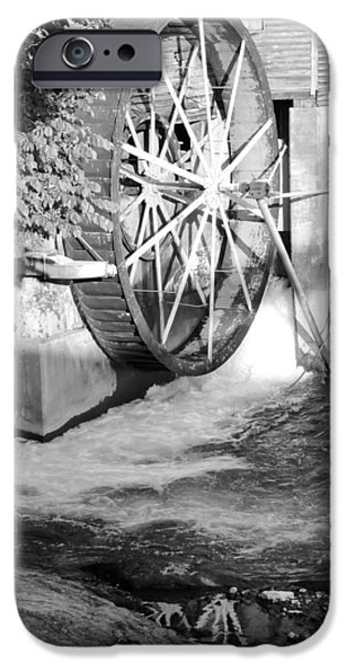 Tennessee Historic Site iPhone Cases - The Old Mill Water Wheel Pigeon Forge Tennessee - BW iPhone Case by Cynthia Woods