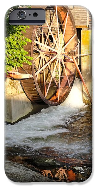 Tennessee Historic Site iPhone Cases - The Old Mill Water Wheel Pigeon Forge Tennessee iPhone Case by Cynthia Woods