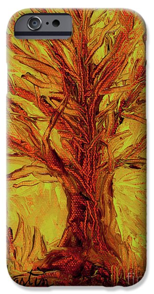 Fertility Paintings iPhone Cases - The Old Oak Tree I iPhone Case by Larry Martin