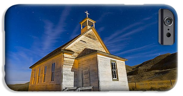 Pioneer Scene iPhone Cases - The Old Pioneer Church In Dorothy iPhone Case by Alan Dyer