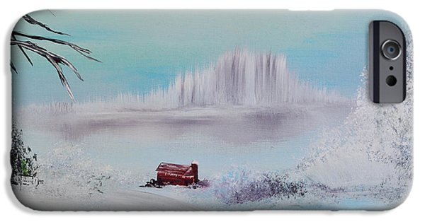 Old Barns iPhone Cases - The Old Red Barn In Winter iPhone Case by Alys Caviness-Gober