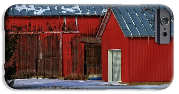 Red Barn In Winter Photographs iPhone Cases - The Old Red Barn In Winter iPhone Case by Dan Sproul